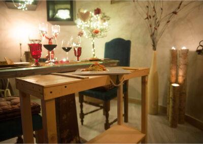 Cena a lume di candela tavola dettaglio Io & Te piccolissimo ristorante