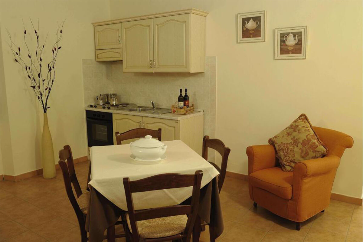 Vacanze in Umbria cucina e salottino Tenuta Marchesi Fezia